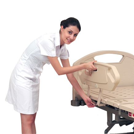 <h1>ABS Siderail</h1><p>● 4-section tuck-away ABS siderails, individual back and knee lifting, it can protect patients from falling off the bed.