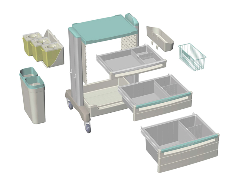 <h1>Clinical Cart Exploded View</h1><p>A flexible assembling design to meet different requests.</p>