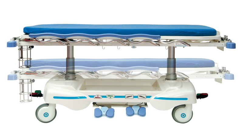 <h1>Hi-Low Function</h1><p>● Actuator with sophisticated mechanism provides a steady, durable, safe and comfortable elevation function. ● The height of beds can travel from 55 cm to 90 cm by stepping on the hi-low pedal located on both sides of stretcher.</p>