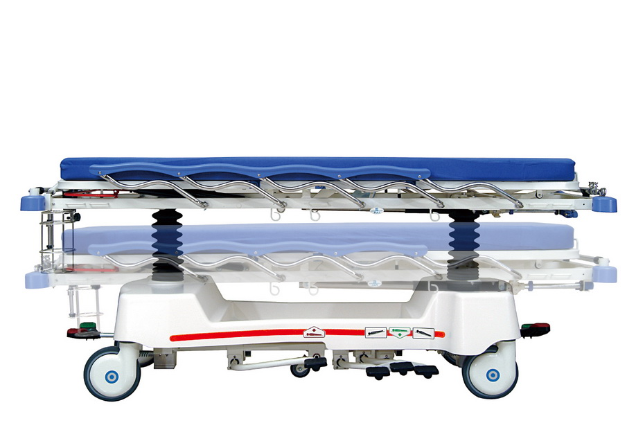 <h1>Hi-Low Function</h1><p>● Hydraulic system with sophisticated mechanism provides a steady, durable, safe and comfortable elevation function. ● The height of beds can travel from 56 cm to 89 cm by stepping on the hi-low pedal located on both sides of stretcher.</p>