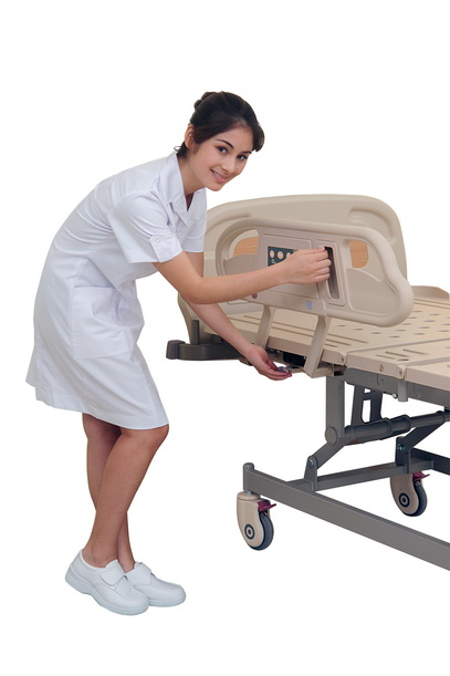 <h1>ABS Siderail</h1><p>● 4-section tuck-away ABS siderail, individual back and knee lifting, giving a functional protection for patients. ● ABS integrated injection molding with smooth finishing. ● Operating handles of the siderails with safety indication. </p>