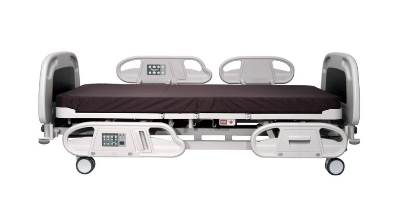 <h1>Safe Siderails</h1><p>Gap between Back and Knee siderail is within 6 cm to avoid patients falling off from the bed. (Conform to international standard:EN 60601-2-38</p>